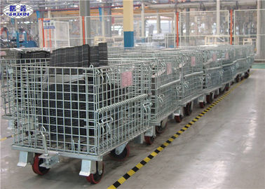 China Stackable Steel Wire Mesh Pallet Containers Collapsible Cage With Wheels supplier