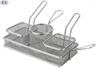 Kitchen Helper Stainless Steel Fryer Basket , Coarse Mesh Mini Fryer Basket
