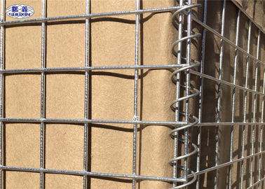 Sand Defence Wall Military Hesco Barriers , Galvanized Welded Wire Mesh Box